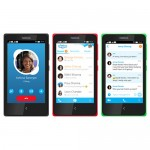 Nokia X in black, red & green running Skype