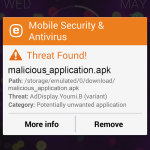 ESET Mobile Security - threat found