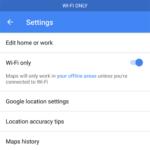 Google Maps settings - 'Wi-Fi only' mode