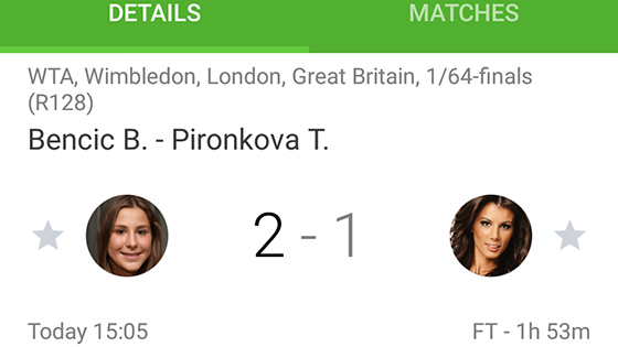 SofaScore Android app - Wimbledon 2015 live scores, stats and data