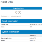 Nokia D1C Android smartphone - Geekbench 3 result