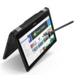 Acer Chromebook Spin 11 in tent mode with Wacom stylus